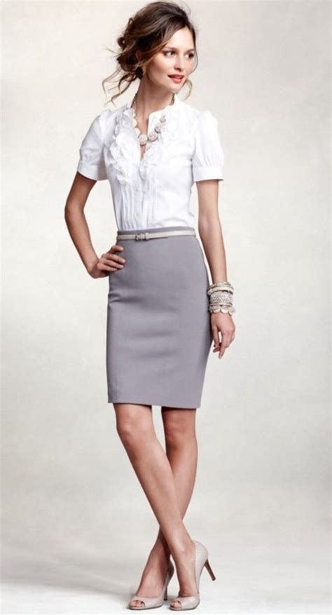 Business professional work outfit White button up grey pencil skirt u0026 nude pumps. | Business ...