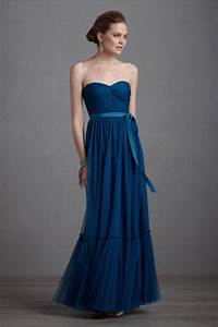elegant navy blue bridesmaid dress long gown bhldn With long navy dress for wedding