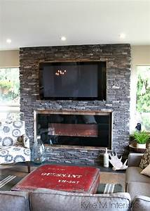 rustic, ledgestone, fireplace, with, reclaimed, wood, surround, and, tv, on, top, , hunting, inspired, decor