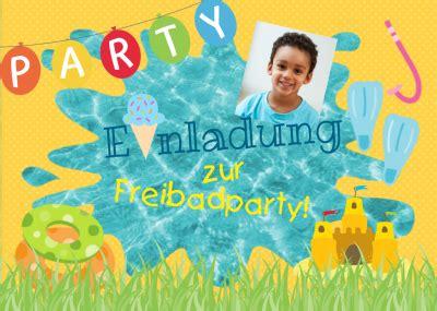 freibad party geburtstag party einladungskarten