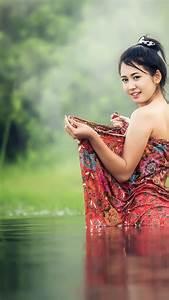 Asian, Girl, 4k, Wallpaper, Teen, Lake, Pond, Bath, Time