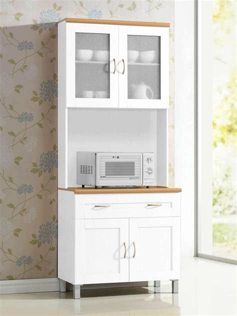 white tall microwave cabinet stand hutch pantry cart