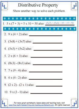 distributive property worksheet 1 addition properties