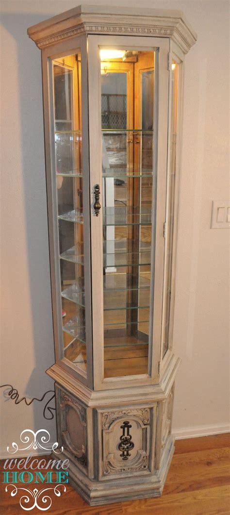 curio hutch vintage curio cabinet refinished with chalktique chalk