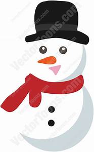 Snowman With Top Hat And Red Scarf Cartoon Clipart ...