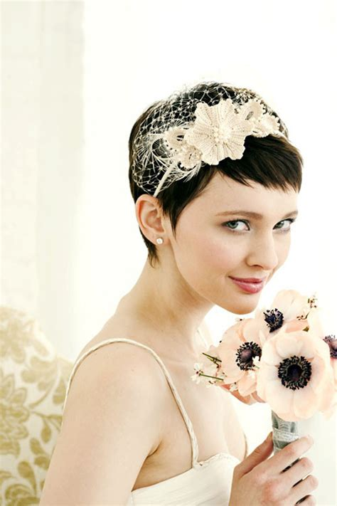 brides  short hair wedding hairstyle ideas hair