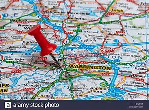 Red Map Pin In Road Map Pointing To City Of Warrington