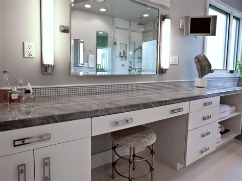 Modern White Vanity Featuring Gray Marble Countertop