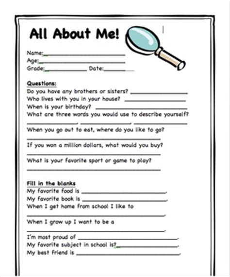 all about me student information sheet by mrsfullenwider tpt
