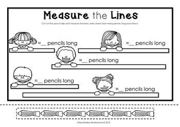 non standard measurement length worksheets for kindergarten grade one