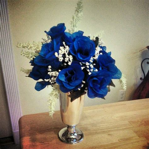 blue and silver flower arrangements royal blue with silver wedding centerpiece wedding