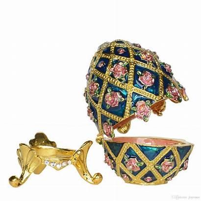Faberge Painted Hand Egg Trinket Box Enameled