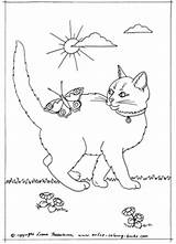 Coloring Cat Pages Tuxedo Butterfly Little Pretty Books Kitty Animal Colouring 361px 76kb Drawings sketch template