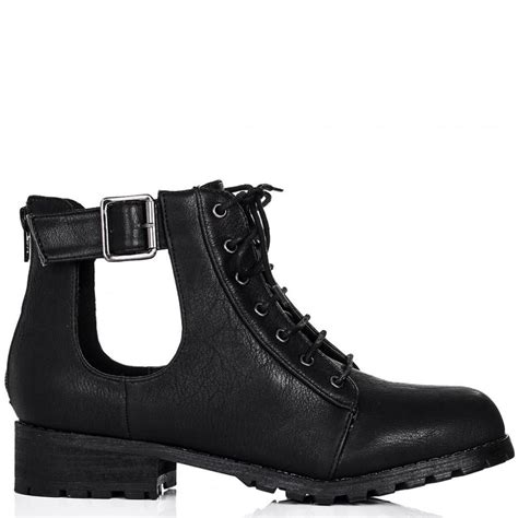 biker ankle boots buy strung flat cut out biker ankle boots black leather