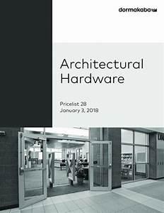 Dorma 2018 Architectural Hardware Price Book