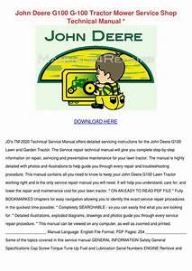 John Deere G100 G 100 Tractor Mower Service S By Viviana