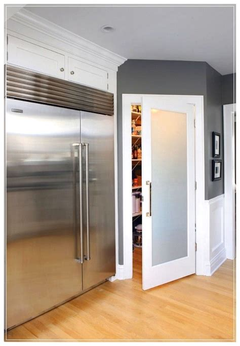striking frosted glass door  pantry  polished