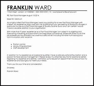 Fast Food Manager Cover Letter Sample