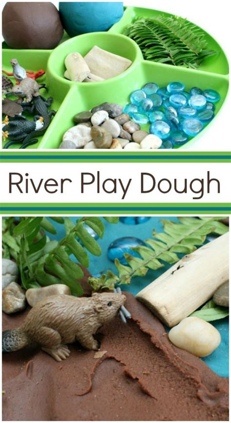river play dough invitation fantastic amp learning 310   River Play Dough Invitation Use for preschool pretend play or incorporate into an animal habitats theme in elementary school 559x1024