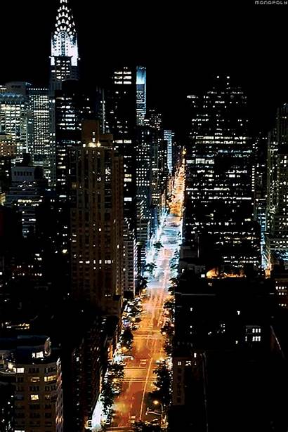 York Night Gifs Nyc Manhattan Lights Animated