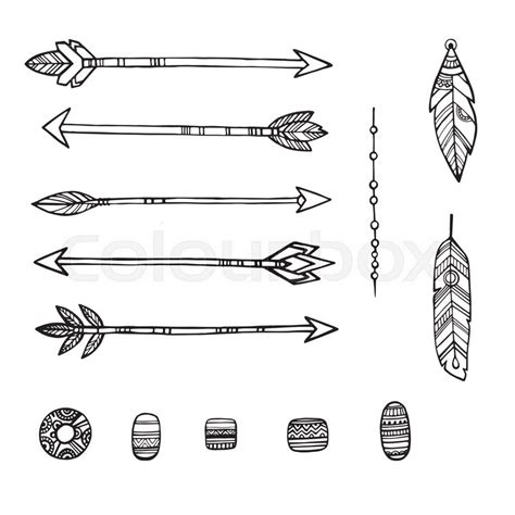 tribal indian arrows hand drawn stock vector