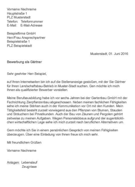 Bewerbung Ausbildung Garten Und Landschaftsbau Anschreiben by Muster Gt Bewerbung Als G 228 Rtner
