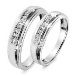 his and wedding ring sets 1 8 carat t w his and hers wedding band set 10k white gold my trio rings wb518w10k