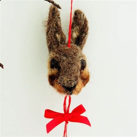 needle felted rabbit christmas bauble decoration folksy