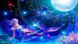 Blue, Mermaid, Moon, Fantasy, Hq, Wallpaper, Hd, Desktop