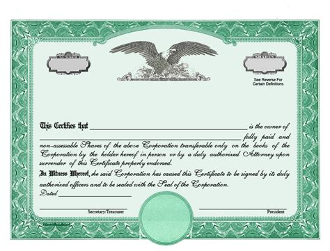 Stock Certificate Template by Stock Certificate Designs Certificate Templates