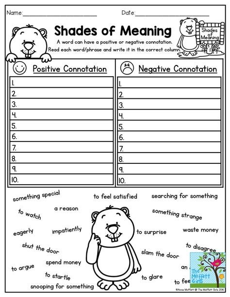 shades of meaning worksheets for 3rd grade shades of meaning practice positive and negative