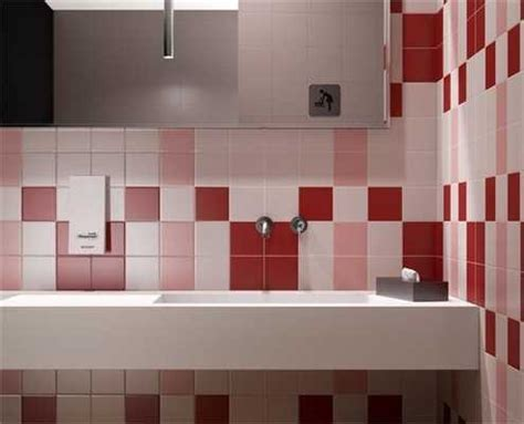 modern wall tiles  red colors creating stunning bathroom