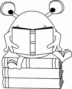 Black and White Two-Eyed Monster Reading Clip Art - Black ...