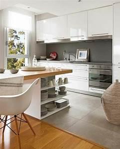 la cuisine grise plutot oui ou plutot non With salle À manger contemporaine avec cuisine carrelage gris anthracite