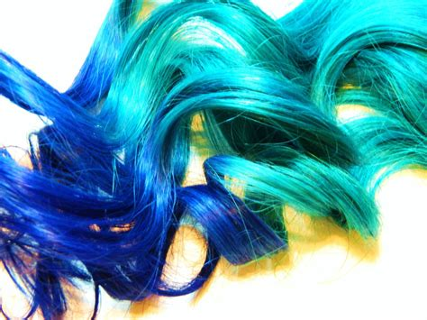 Teal Royal Blue Ombre Clip In Human Hair Extensions Dip