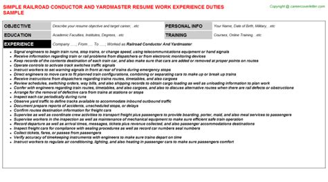 railroad conductor trainee resume exles railroad conductor and yardmaster title docs