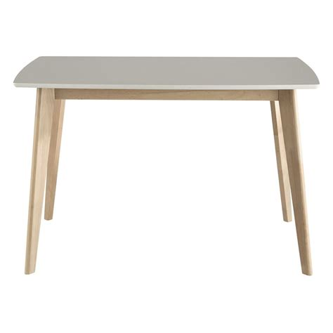 white wooden table l wooden dining table in white w 120cm mia maisons du monde