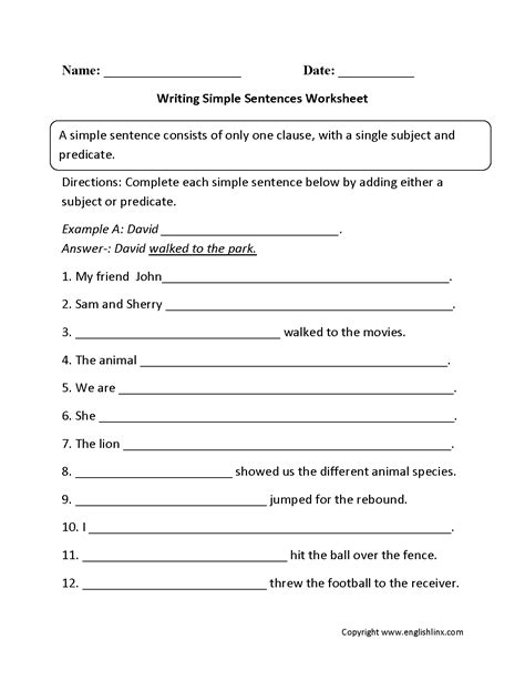 writing sentences worksheets for 2nd grade them