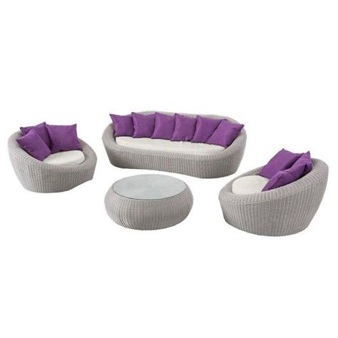 Salon de jardin Java Gris clair/Violet - 5 places - Salon de jardin - Eminza
