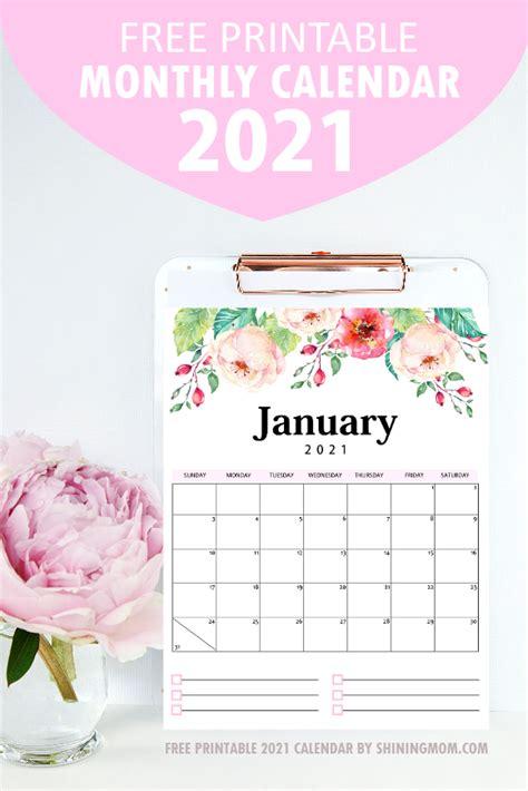 printable calendar    beautiful florals