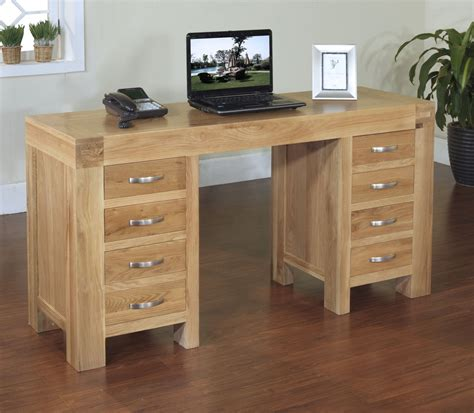 oak bureau desk rivermead solid modern oak furniture large office pc
