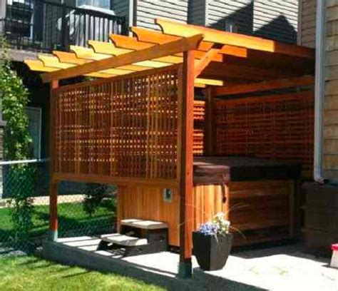 This can be solved with a hot tub enclosure. 97+ Most Mesmerizing and Super Cozy Hot Tub Cover Ideas