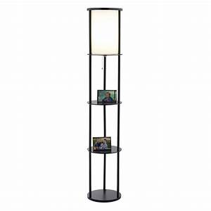 interior cool wood tower floor lamp with shelves stylish With floor lamp with shelves india