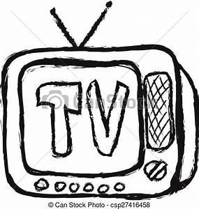 Doodle old wooden tv, vector illustration
