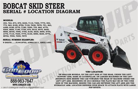 serial number location   bobcat skidsteer loader