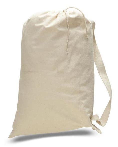 large heavy cotton drawstring laundry bag  handles