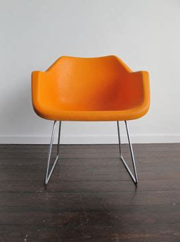 orange polyproplene chairs  robin day  hille england