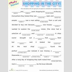 Fill In The Blanks Story Shopping  Teaching 4th Grade  Grammar Worksheets, English Activities