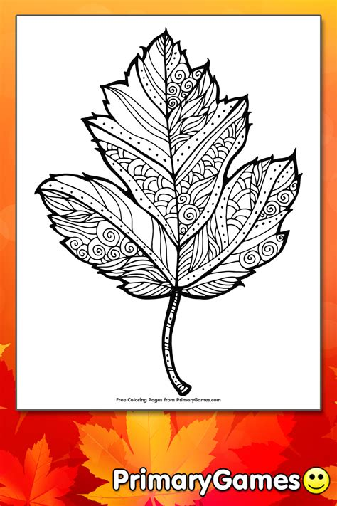 maple leaf coloring page printable fall coloring  primarygames