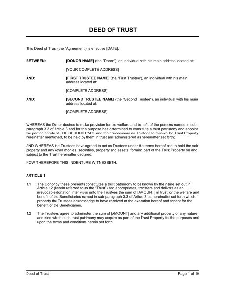 trust agreement template uk assignment of deed of trust template sle form